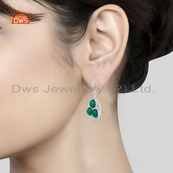 Wholesalers Handmade 925 Sterling Silver Green Onyx Gemstone Earring Manufacturer of Jewelry