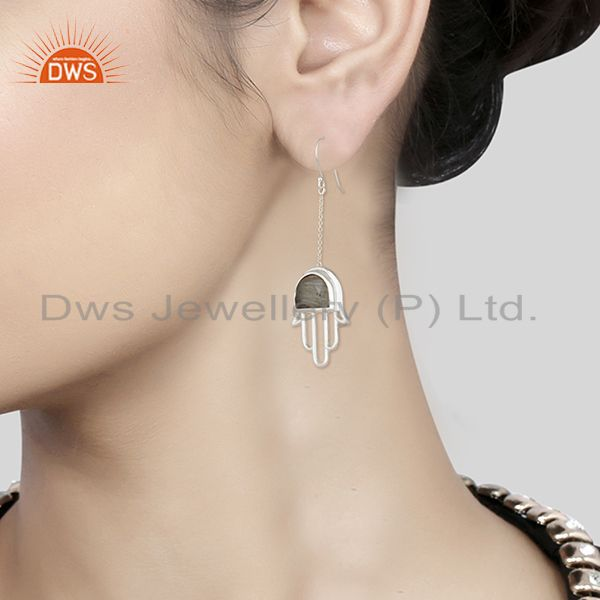 Wholesalers Fine Sterling Silver Hamsa Hand Natural Gemstone Earring Manufacturer India