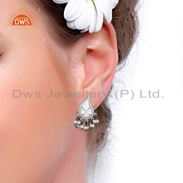 Wholesalers Handcraved Floral Design 925 Silver Natural Pearl Designer Earrings Wholesale