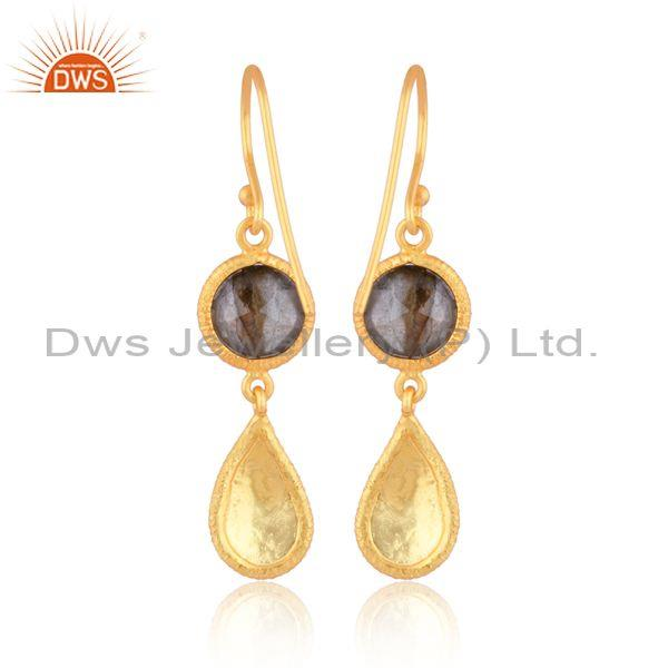Round cut labradorite set gold on sterling silver earrings