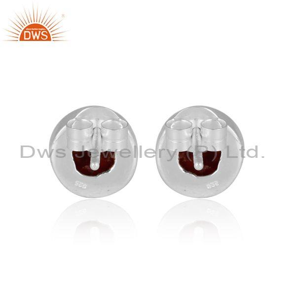 Round sponge coral set fine sterling silver classic earrings