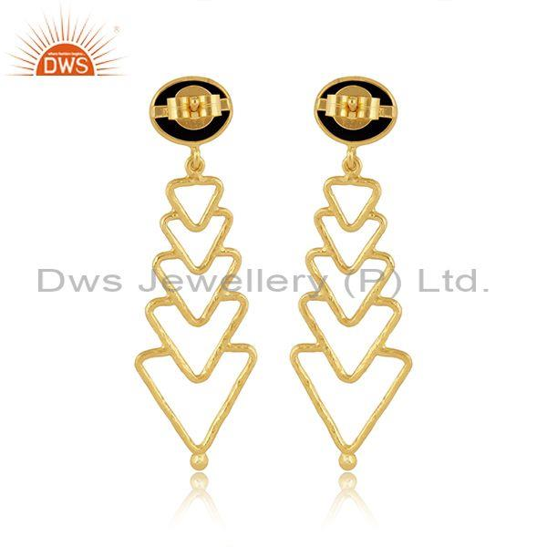 Black onyx set gold on silver long drop abstract earrings