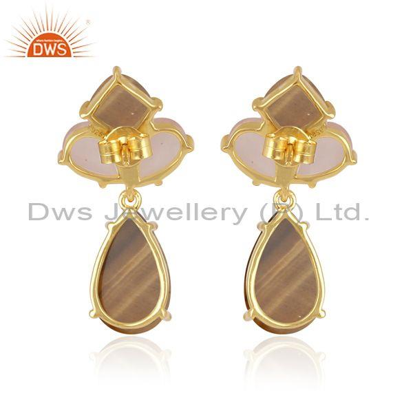 Tiger eye yellow and rose chalcedony gold on silver earrings