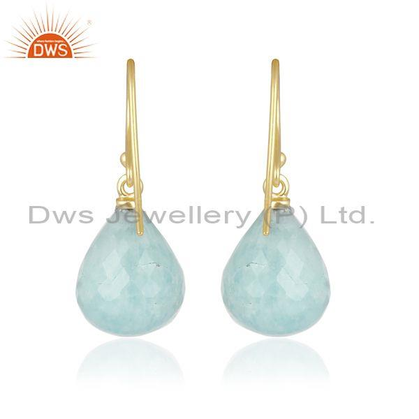 Amazonite gold on sterling silver classic statement earrings