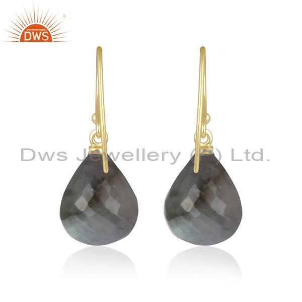 Labradorite set gold on silver classic statement earrings