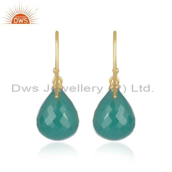 Green onyx set gold on 925 silver classic statement earrings