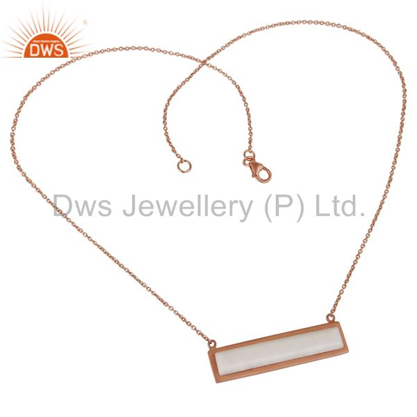 Wholesalers Rose Gold Plated Flat Cut White Agate Sterling Silver Necklace