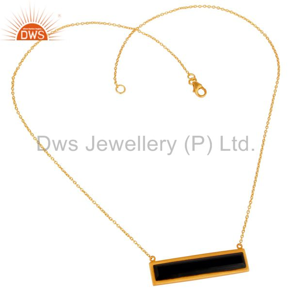 Wholesalers 18K Yellow Gold Plated Black Onyx Sterling Silver Flat Pendant Necklace