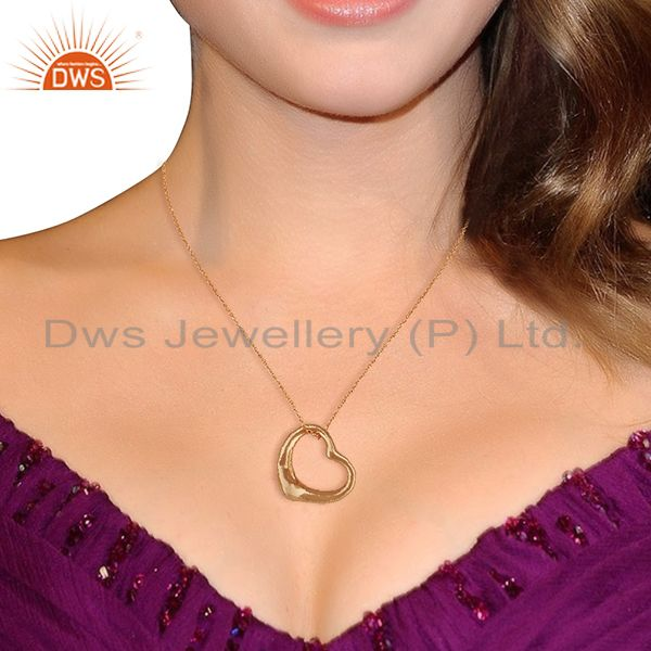 Wholesalers Open Heart 925 Sterling Silver Rose Gold Plated Pendants