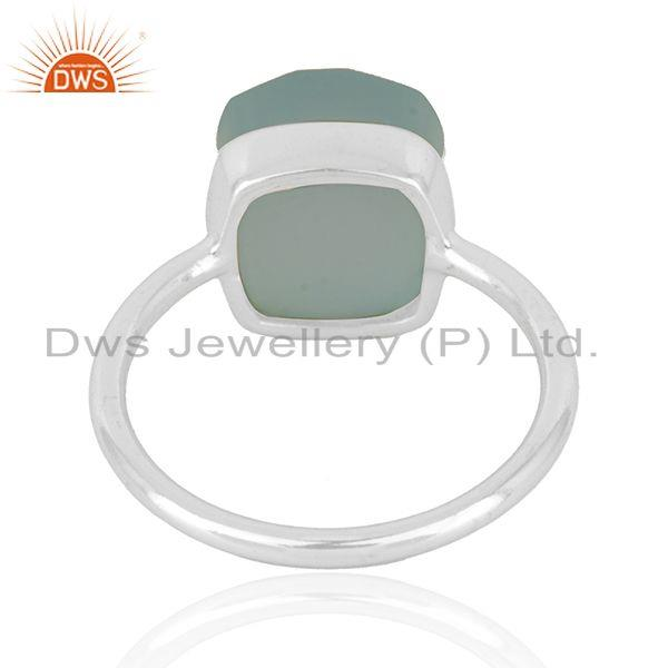 Wholesalers Aqua Chalcedony Gemstone Fine Sterling Silver Ring Manufacturer in India