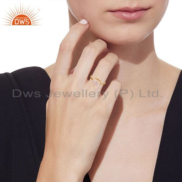Wholesalers 14K Yellow Gold Plated 925 Sterling Silver Handmade Rose Quartz Statement Ring