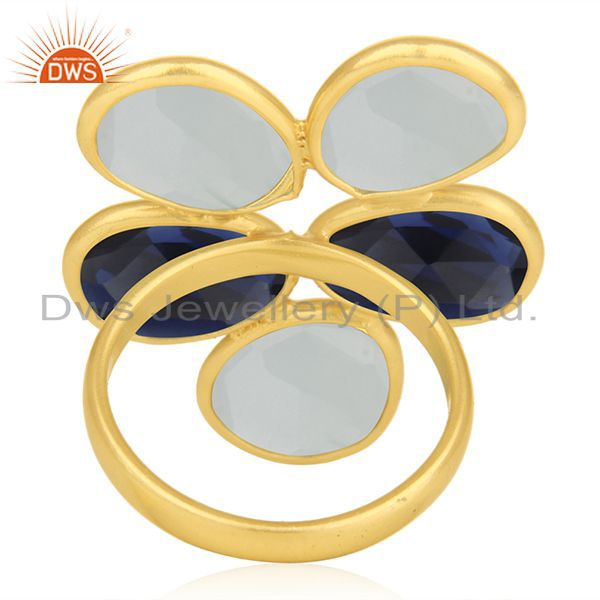 Wholesalers Gold Plated 925 Silver Multi Gemstone Cocktail Ring Manufacturer Custom Jewelry