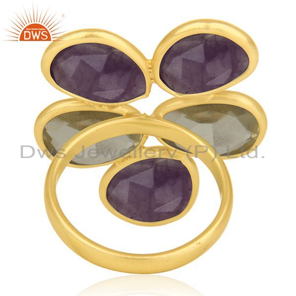 Wholesalers Lemon Topaz and Amethyst Gemstone 925 Silver Gold Plated Cocktail Ring Wholesale
