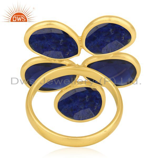 Wholesalers Lapis Lazuli and Blue Corundum Gemstone Sterling Silver Gold Plated Ring