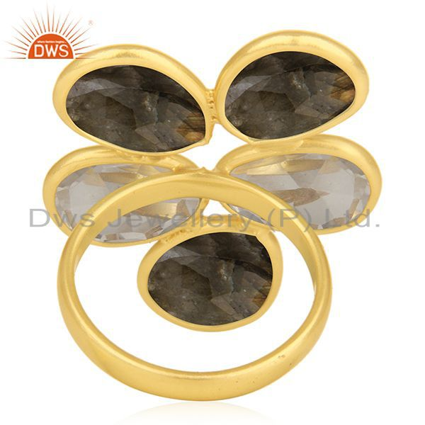 Wholesalers Rose Quartz and Labradorite Gemstone 925 Silver Gold Plated Ring Manufacturer