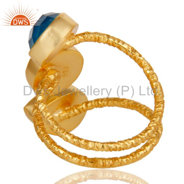 Wholesalers Handmade Chalcedony Sterling Silver Prong Set Joint Ring with 18k Gold Plated
