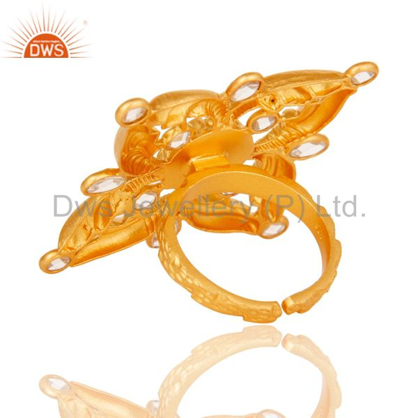 Wholesalers 18k Gold Plated Sterling Silver Flower Design Ring with White Zircon