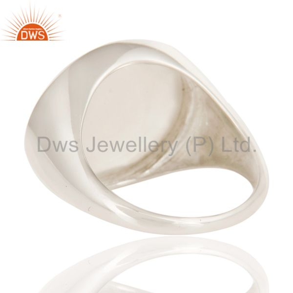 Wholesalers Natural Chalcedony Fashion Dome Design 925 Sterling Silver Ring