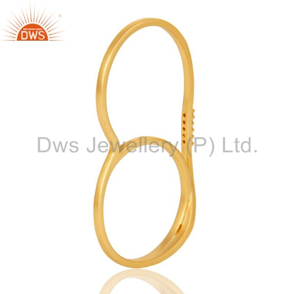 Wholesalers 18K Gold Plated Handmade Double Finger White Zirconia Brass Band Ring Jewellery