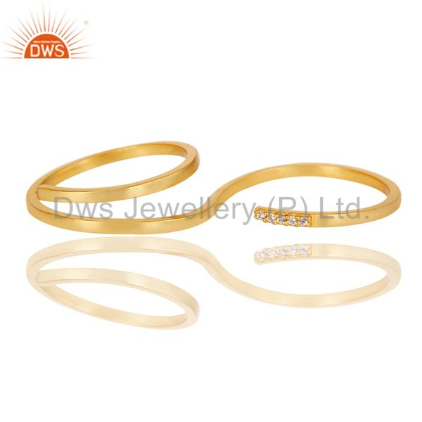 Wholesalers Beautiful 18K Gold Plated Handmade Double Finger White Zirconia Brass Band Ring