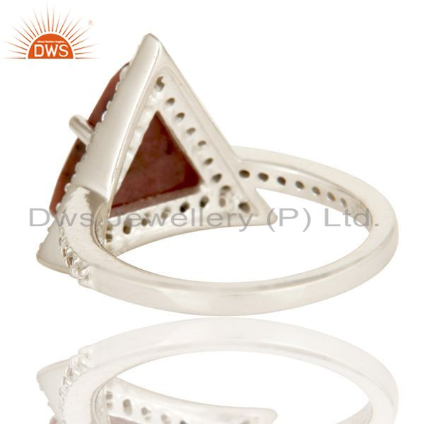 Wholesalers Solid 925 Sterling Silver Checkered Rhodonite & White Zirconia Statement Ring
