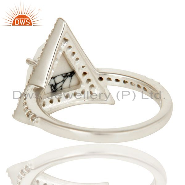 Wholesalers Handmade Solid 925 Sterling Silver White Howlite & White Zirconia Statement Ring