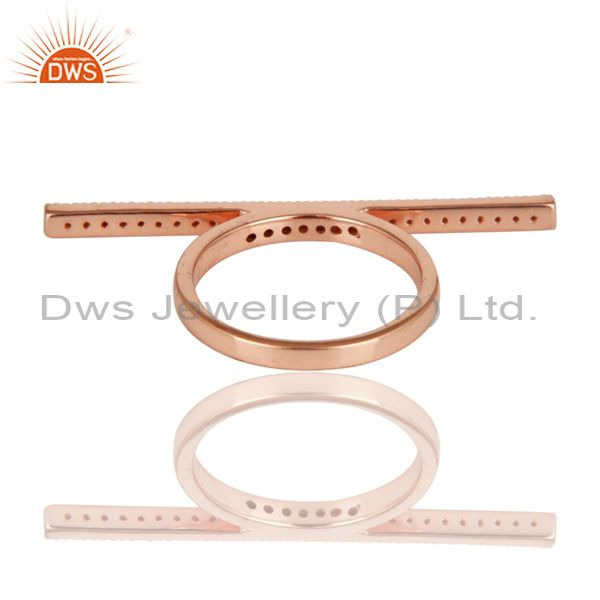 Wholesalers 18K Rose Gold Plated 925 Sterling Silver Handmade Art Finishing Knuckle Ring