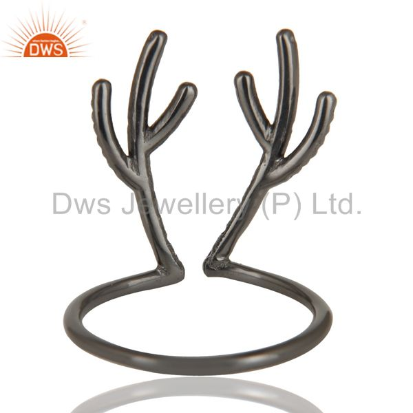 Wholesalers Black Oxidized 925 Sterling Silver Handmade Tree Design Knuckle Ring