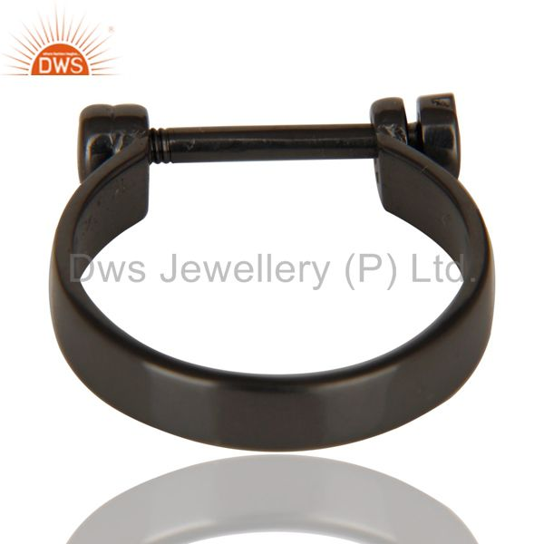 Wholesalers Black Oxidized 925 Sterling Silver Handmade Lock Style Openable Ring Jewelry