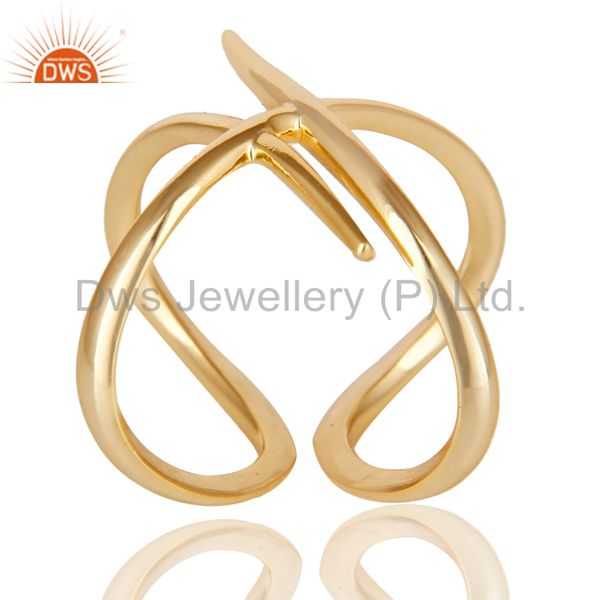 Wholesalers 14K Yellow Gold Plated 925 Sterling Silver Handmade Art Deco Stackable Ring