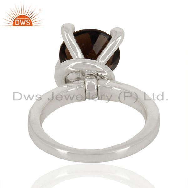 Wholesalers Smoky Quartz And CZ Stackable 925 Sterling Silver Prong Set Ring Jewelry
