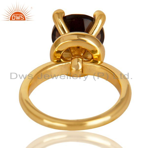 Wholesalers 14K Yellow Gold Plated 925 Sterling Silver Smokey Topaz & CZ Prong Set Ring