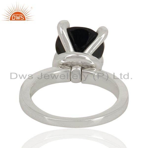 Wholesalers Black Onyx And CZ Stackable 925 Sterling Silver Prong Set Ring Gemstone Jewelry