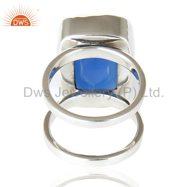 Wholesalers Stunning 925 Sterling Silver Handmade Dyed Blue Chalcedony Cocktail Ring Jewelry