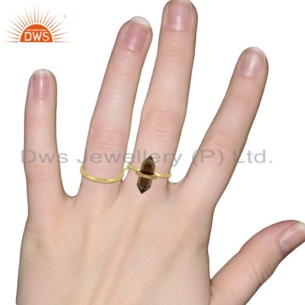 Wholesalers Smoky Topaz And White Cz Studded Two Finger Ring Gold Plated Silver Jewelry