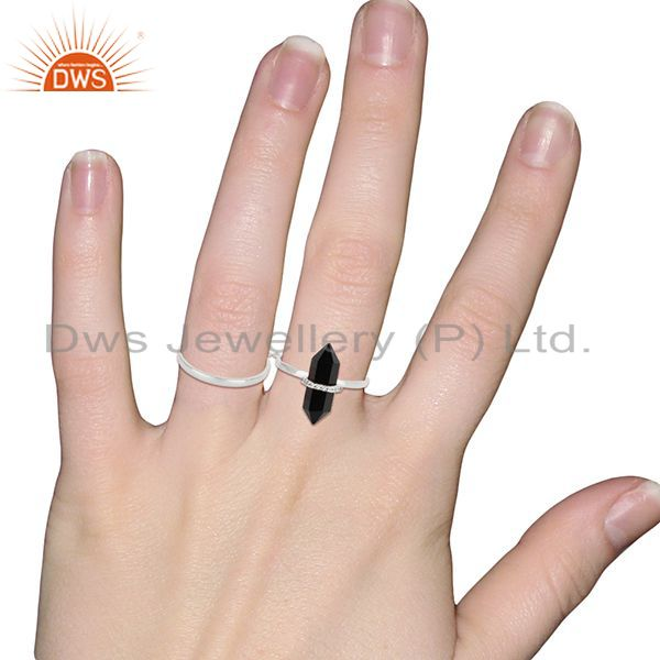 Wholesalers Black Onyx And White Cz Studded Two Finger Ring 92.5 Sterling SilverJewelry