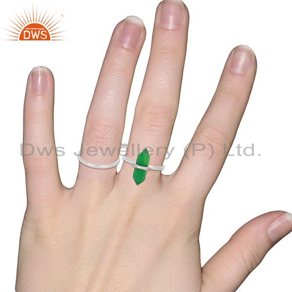 Wholesalers Green Onyx And White Cz Studded Two Finger Ring 92.5 Sterling SilverJewelry