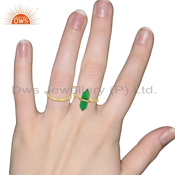 Wholesalers Green Onyx And White Cz Studded Two Finger Ring Gold Plated Silver Jewelry