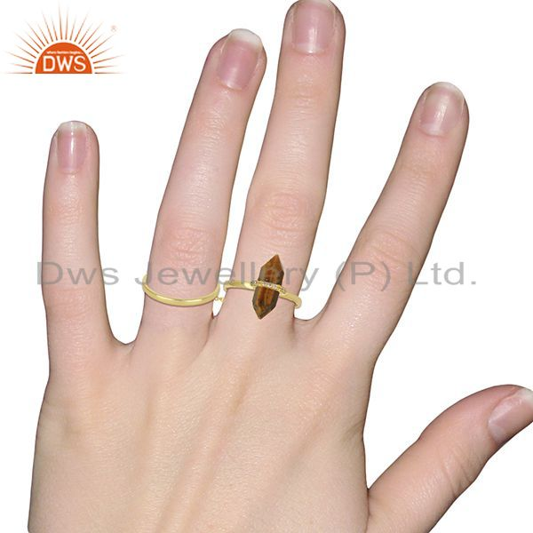 Wholesalers Tigereye And White Cz Studded Two Finger Ring Gold Plated Silver Jewelry