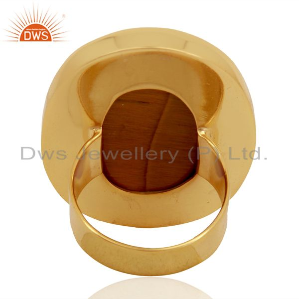 Wholesalers Yellow Tigereye Mens Ring Fine Gold Plated Sterling Silver Wholesale Jewelry