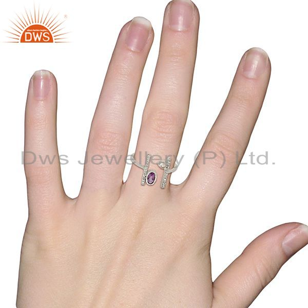 Wholesalers Amethyst Adjustable Parallel Bar White Rhodium Plated  High Finish Silver Ring