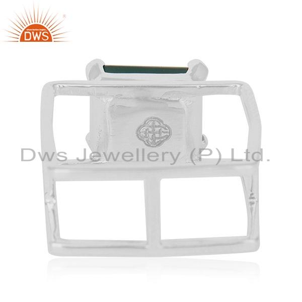 Wholesalers Prong Set Green Onyx Gemstone Designer Sterling Silver Ring Jewelry