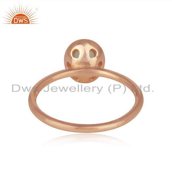 Wholesalers Aqua Chalcedony Gemstone Rose Gold Plated 925 Silver Rings