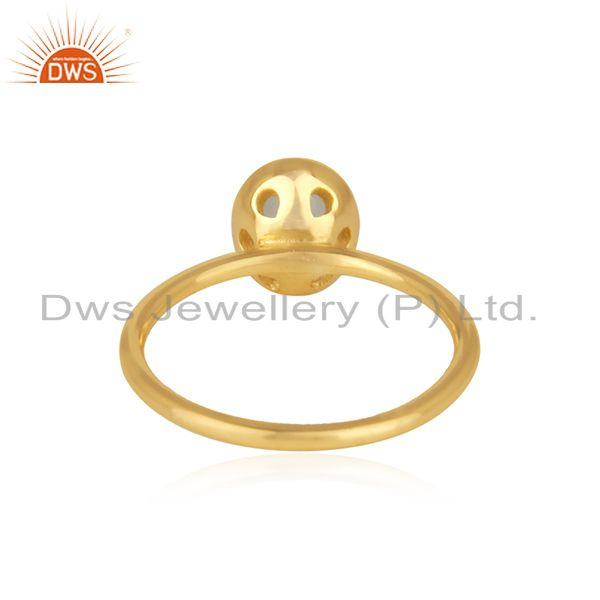 Wholesalers Gold Plated 925 Silver Aqua Chalcedony Gemstone Rings Manufacturer