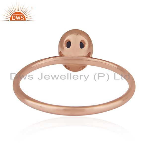 Wholesalers Iolite Gemstone Rose Gold Plated Handmade 925 Silver Wedding Ring Whlolesale