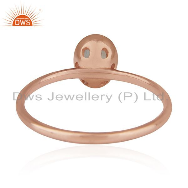 Wholesalers Natural Labradorite Gemstone Rose Gold Plated 925 Silver Ring Manufacturers