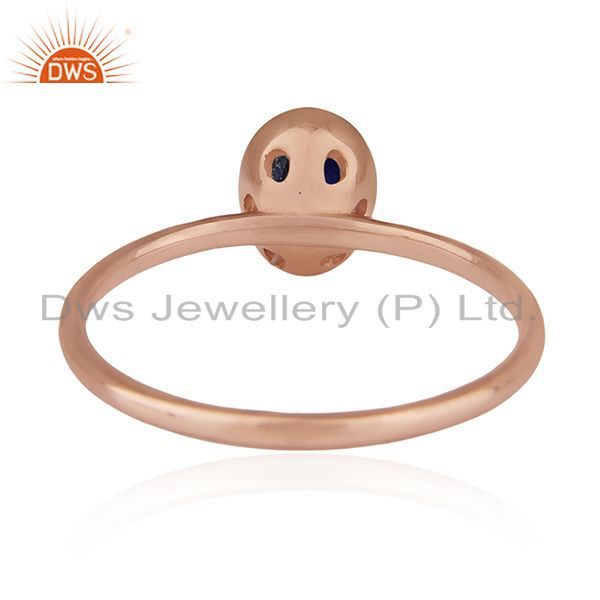 Wholesalers Handmade Rose Gold Plated 925 Silver Lapis Lazuli Gemstone Wedding Ring Supplier