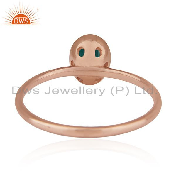 Wholesalers Green Onyx Gemstone 925 Silver Rose Gold Plated Wedding Ring Manufacturers