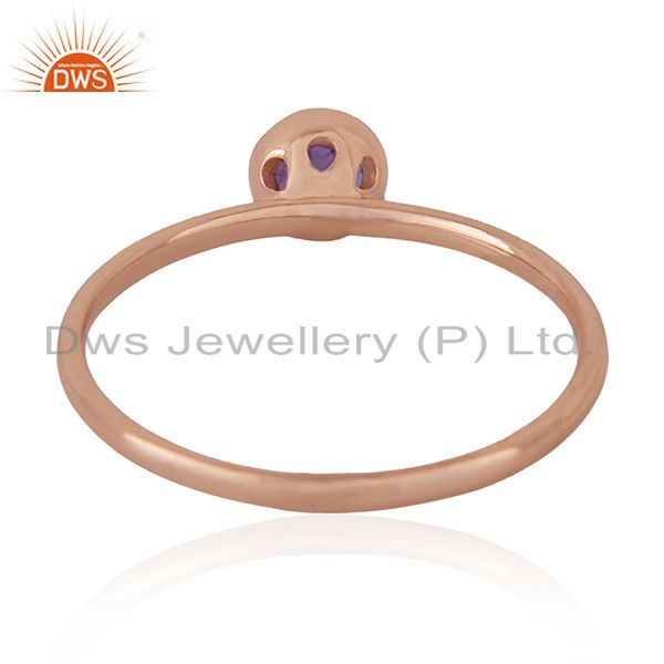 Wholesalers Natural Amethyst Birthstone Rose Gold Plated 925 Silver Wedding Ring Wholesalers