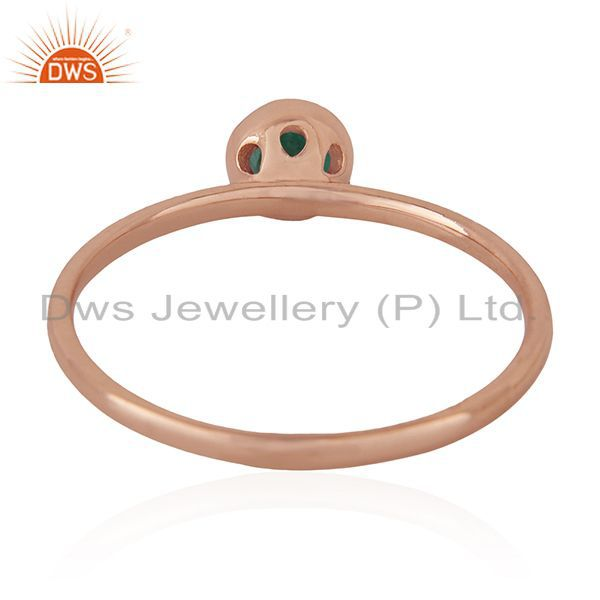 Wholesalers Emerald Birthstone 925 Silver Rose Gold Plated Wedding Ring Manufacturer India